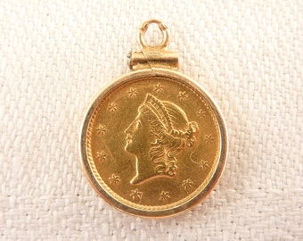 Antique 1852 U.S. Gold Liberty Dollar Coin Charm in 10K Gold Bezel