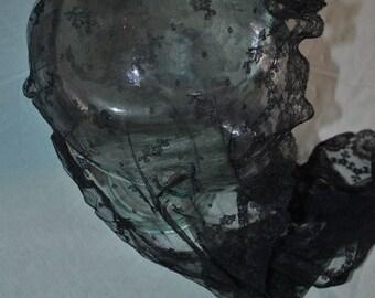 Vintage Black Lace Head Scarf Lord & Taylor