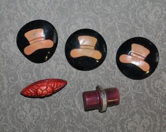 Vintage Plastic Buttons Hats Faux Cinnabar
