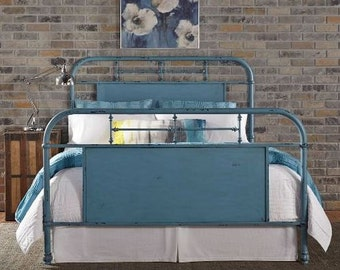 Queen Metal Farmhouse Bed, Urban Chic Painted Bed, Available in Multiple Colors