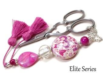 Retro Scissor Fob Beaded Scissor Keeper Scissor Minder Elite Series Fuchsia Pink Needlepoint Quilting Sewing Cross Stitch