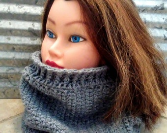 Cowl Neck Warmer in Gray