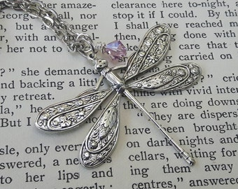 Dragonfly Necklace // Dragonfly Jewelry Silver Dragonfly Necklace / Birthstone / Bridal Party / Nature Jewelry / Wedding / Victorian Style