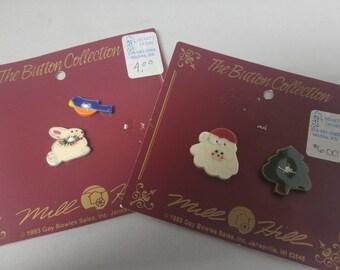 Hand Made Mill Hill Ceramic 4 Buttons Christmas Santa, Bunny, Blue Bird #B533