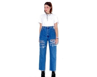 adorable 90s JEANS / high waisted jeans mom jeans ripped jeans distressed jeans boyfriend jeans 90s clothing cropped jeans