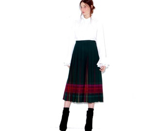 vintage wool plaid PENDLETON SKIRT / womens xl 31 32 waist / high waisted skirt pleated skirt wool skirt midi skirt striped plaid skirt