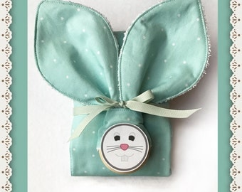 FREE FAST SHIPPING Baby Boy Bunny Teether and Burp Cloth Gift Set in Mint for Boy Shower