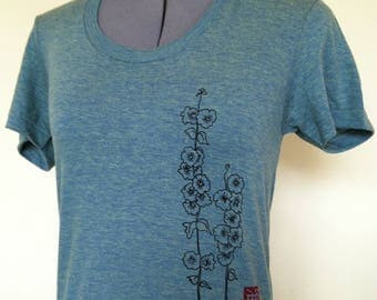 women tshirt, flower shirt, women shirt, hollyhocks,graphic tee,screen print