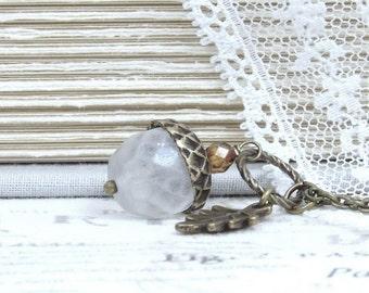 Glass Acorn Pendant Necklace Fall Jewelry Autumn Necklace Crystal Acorn Necklace Acorn Gift