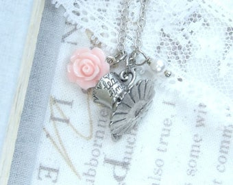 Tea Party Necklace Tea cup Necklace Pink Rose Necklace Tea Lover Gift Necklace Shabby Chic Necklace