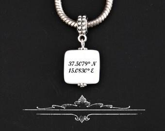 Custom Coordinates European Style  Charm/pendant