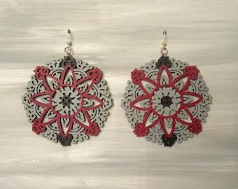 Hand Painted Lase Cut Earrings