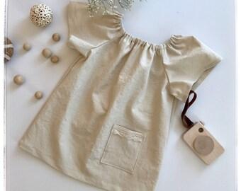 Ivory linen dress Baby linen dress Girls beige linen peasant dress Ivory linen dress Short sleeves linen dress Girls dress Vintage dress