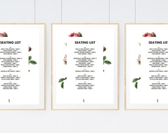 Printable Seating List - Wedding Seating List Template - Instant Download - Seating Chart PDF - Vintage Roses - Pink Roses Seating List