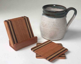 ONE Mug with SET of 6 Wood Coasters, Ready to Ship for the Holidays, Free Coaster Shipping with Mug Purchase