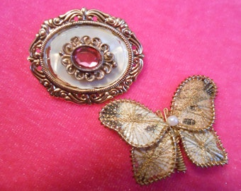 vintage butterfly spun gold pin and small gold and mother of pearl brooch