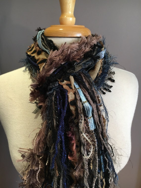 Handmade Cheetah Fringie - Multitextural fringe scarf in blue, black, taupe, brown, silver with cheetah print, gypsy, boho chic fashion