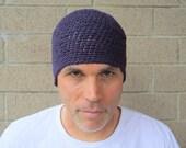 men's hemp beanie/ plum purple crochet- made to order