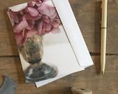 Hydrangea Note Card, plum, photo