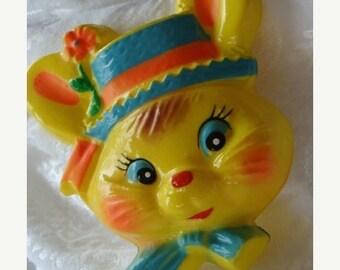 ON SALE Vintage Easter Kitsch Adorable Bunny Face