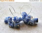 20% OFF RESERVED FOR kr41600 - Navy Blue Earrings, Sodalite Earrings, Blue and White Earrings, Denim Earrings