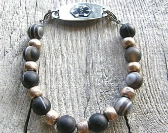 20% OFF Unisex Medical ID Detachable Bracelet, African Silver and Banded Black Agate Replacement Bracelet