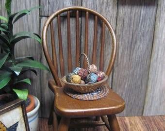 Dollhouse Miniature Cloth Rag Balls in Basket  Primitive