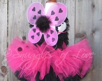 Hot Pink Ladybug Wings - Ladybug Costume Wings - Ladybug Halloween Costume - Pink and Black Fairy Wings - Pink Ladybug Costume - WINGS ONLY