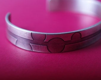 Art Deco Bubbles Sterling Etched cuff