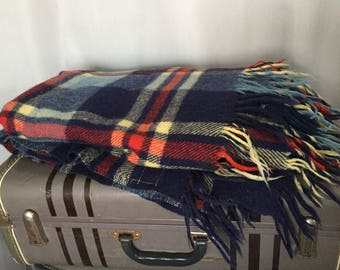 Navy Blue Stadium Blanket Fringe Plaid Red Yellow Vintage Troy Robe 100% Virgin Wool