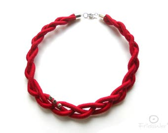Statement Braided Necklace in Red with spikes-ThousandBraids-Fabric necklace,Textile Necklace,Fiber necklace,romantic Jewelry,red braid