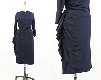 40s Dress Sarong Fan Skirt Medium / 1940s Dress Navy Rayon / Blue Sky Dress