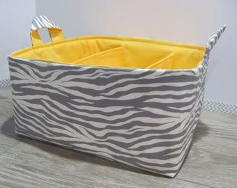 SALE Fabric Diaper Caddy - Storage Container Basket - Organizer Bin - Tote Bag - Bucket- Baby Gift - Nursery - Grey Zebra - RTS