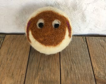Chestnut Brown Sheep or Lamb, Felted Wool Toy Ball or Sculpture , Mini