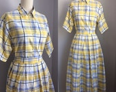 Vintage 1980s does 1950s Yellow Plaid Cotton 2 pc Shirtwaist Dress Size Medium