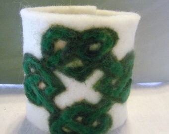 Needle Felted  Irish Celtic Needle Felted Cuff  bracelet
