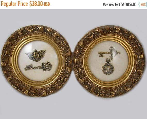 SPRING CLEANING SALE Pair of vintage mid century gold leaf picture frame shadow box lock and key wall art / wall hanging / wall plaque / And