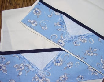 Blue Feed Sack Cotton Kitchen Towels