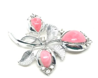 Coro Vintage Silver tone Pink Lucite Gorgeous Pin Brooch