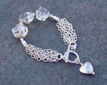 Sterling Silver Multi-Strand Chain Crystal Quartz Hammered Heart Charm Bracelet