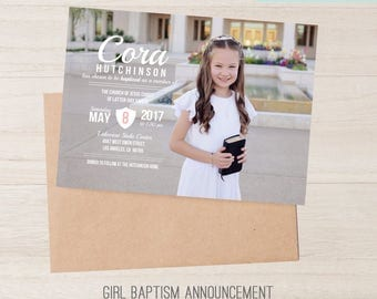 LDS Girl Baptism Invitation, Girls Baptism Announcement, Pink and White, Girl Pink Baptism Invite, It's Great to be 8, CTR, Baptism