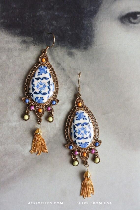 Portugal Azulejo Tile Replica Earrings BRAGA Blue Bohemian Eclectic Bohochic Tribal Persian Tassel - Gift Box Included