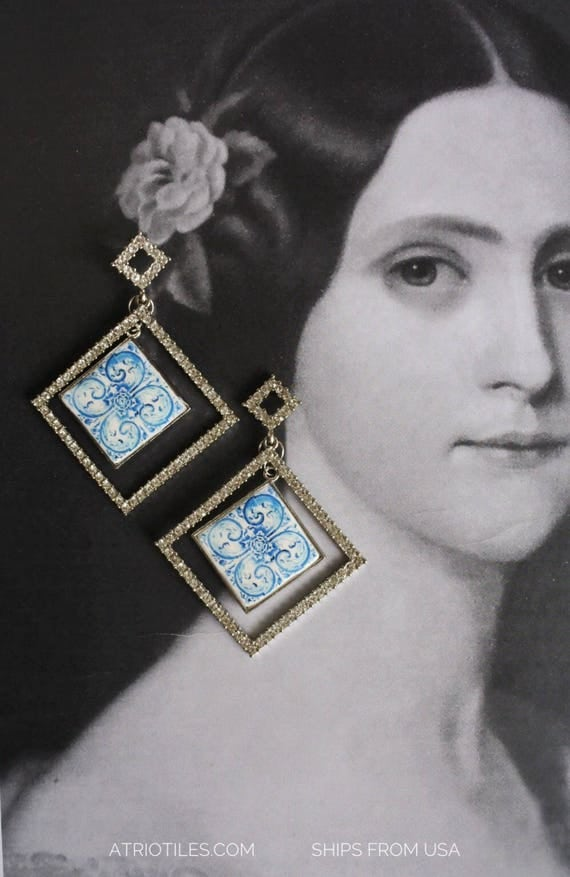 Rhinestone Geometric Earrings Portugal  Antique Azulejo Tile Replica Earrings  - University of Évora founded in 1559 - Majolica bridal