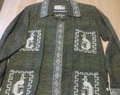 Vintage 1950's Guatemalan Woven Shirt / QUETZAL Birds / Hand Embroidered / Boho Hippie Festival Shirt Jacket / San Judas Tadeo / Unisex
