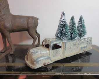 """Vintage Metal Tootsie Toy Truck loaded 3 Bottle Brush Trees Loaded Ready for Delivery Desk Decor Vintage Decor Holiday Decor 6"""" Red Truck"""