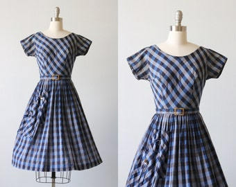 Vintage 1950s Plaid Cotton Full Skirt Dress / 50s Dress / Pleated Skirt / Belted / Pocket Detail