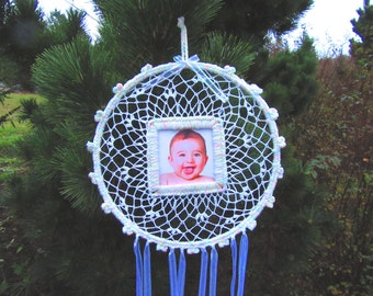 Baby Dreamcatcher. Babies, baby beads, colorful, crochet, doily, baby shower gift, handmade, home, unique, ribbons, baby yarn, keepsake.