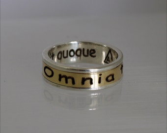 Solomon ring on latin, Silver band , Solid gold ring, Ring for men, Band for women, Band for man.