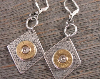Bullet Jewelry - Bullet Earrings - Brass Bullet Casing on Etched Diamond Pendant Dangle Leverback Earrings - SureShot Exclusive Design