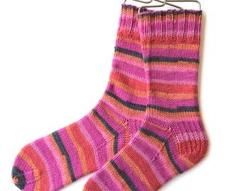 Handknit Socks for Women and Girls, cashmere socks, merino wool socks, pink orange red socks, striped socks, DK weight, bright colors